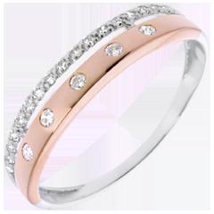 Anneau Féérie - Couronne d'Étoiles - petit modèle - or rose, or blanc - 22 diamants