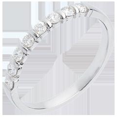 Alliance or blanc semi pavée - serti barrettes - 0.3 carats - 8 diamants