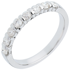 Alliance or blanc semi pavée - serti barrettes - 0.5 carats - 8 diamants