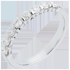 Alliance or blanc semi pavée - serti barrettes - 0.5 carats - 8 diamants