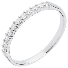 Fede nuziale oro bianco semi pavé - incastonatura Griffe - 11 diamanti