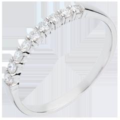 Fede nuziale oro bianco semi pavé - incastonatura Griffe - 0.25 carati - 9 diamanti