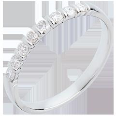 Fede nuziale oro bianco semi pavé - incastonatura Barretta - 0.25 carati - 8 diamanti
