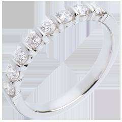Fede nuziale oro bianco semi pavé - incastonatura a Barrette - 0.5 carati - 8 diamanti
