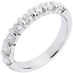 Alianza oro blanco semi empedrado - engaste pasador - 0.75 quilates - 8 diamantes