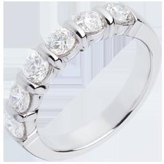 Alliance or blanc semi pavée - serti barrettes - 1 carats - 6 diamants