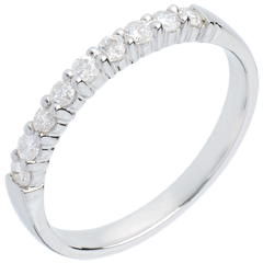 Fede nuziale oro bianco semi pavé - incastonatura Griffe - 0.3 carati - 9 diamanti