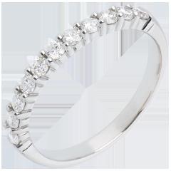 Alianza oro blanco semi empedrado - engaste garras - 0.4 quilates - 11 diamantes