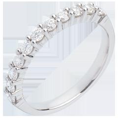 Alliance or blanc semi pavée - serti griffes - 0.5 carats - 11 diamants