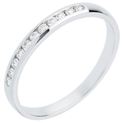 Fede nuziale oro bianco semi pavé - incastonatura Binario - 11 diamanti