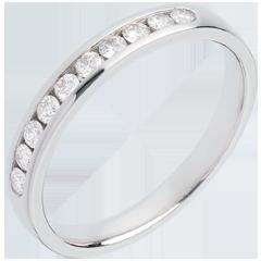 Fede nuziale oro bianco semi pavé - incastonatura Binario - 0.25 carati - 10 diamanti