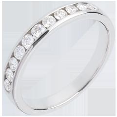 Fede nuziale oro bianco semi pavé - incastonatura Binario - 0.4 carati - 11 diamanti