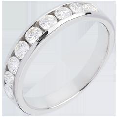 Alianza oro blanco semi empedrado - engaste raíl - 0.75 quilates - 9 diamantes