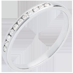 Alliance or blanc semi pavée - serti rail - 11 diamants : 0.15 carats