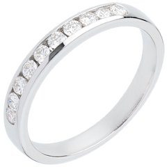 Fede nuziale oro bianco semi pavé - incastonatura Binario - 0.3 carati - 10 diamanti