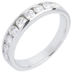 Fede nuziale oro bianco semi pavé - incastonatura Binario - 0.5 carati - 11 diamanti