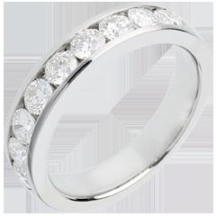 Alliance or blanc semi pavée - serti rail - 1 carats - 9 diamants