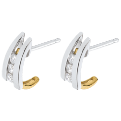 Boucles d'oreilles accroche coeur duo - or blanc et or jaune 18 carats