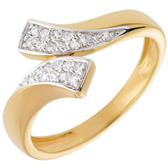Anillo cinta oro amarillo empedrado  - 24 diamantes