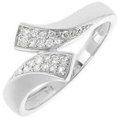 Bague ruban or blanc pavée  - 24 diamants