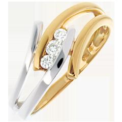 Trilogia Nido Prezioso -Arabesca - oro giallo ed oro bianco - 0.11 carato - 18 carati