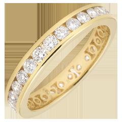 Alliance or jaune pavée - serti rail - 1.07 carats - Tour complet