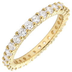 Alliance or jaune pavée - serti griffes - 1.11 carats - Tour complet