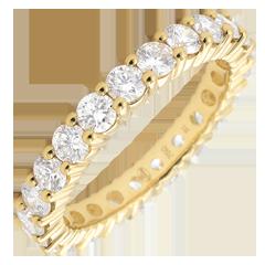 Alliance or jaune pavée - serti griffes - 2 carats - Tour complet