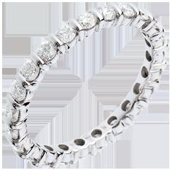 Alliance or blanc pavée - serti barrettes tour complet - 1.25 carats - 22 diamants