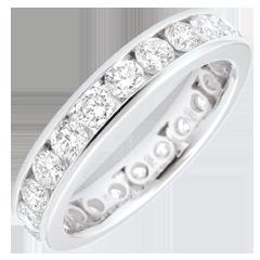 Alliance or blanc pavée - serti rail - 1.9 carats - 23 diamants