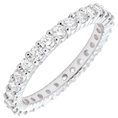 Alliance or blanc pavée - serti griffes tour complet - 1.2 carats - 30 diamants