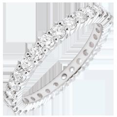 Alliance or blanc pavée - serti griffes tour complet - 1.2 carats - 30 diamants