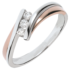 Anillo de  compromiso Nido Precioso - Trilogía diamante - oro rosay  blanco - 3 diamantes - 18 quilates