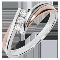 Anillo de  compromiso Nido Precioso - Trilog�a diamante - oro rosay  blanco - 3 diamantes - 18 quilates