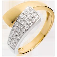 Bague tropique or jaune pavée - 0.26 carats - 34 diamants