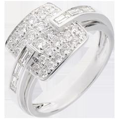 Bague riad or blanc pavée - 0.82 carats - 32 diamants