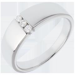 Trilogie étreinte - or blanc - 3 diamants