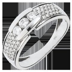Anillo Constelación - Trilogía pavé oro blanco - 0. 509 quilates - 57 diamantes