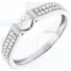 Bague de Fiançailles Or Blanc Solitaire Arche pavée - 0.38 carats - 29 diamants