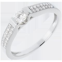 Anillo de Pedida Destino - Arco oro blanco empedrado - 0.31 quilates - 29 diamantes - 18 quilates