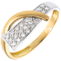 Anillo sirena oro amarillo-oro blanco empedrado - 20 diamantes