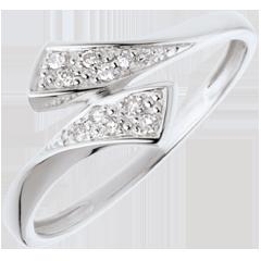 Bague ruban or blanc pavée  - 10 diamants