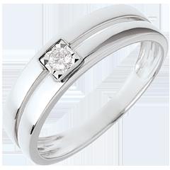Bague double rangs avec diamant de centre - 0.05 carat - or blanc 18 carats