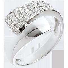 Bague tropique or blanc pavée  - 0.26 carats - 34 diamants