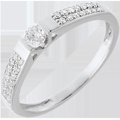 Solitario arco oro blanco empedrado - 0.25 quilates - 29 diamantes