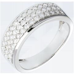 Anello Costellazione - Astrale - modello piccolo - oro bianco lastricato - 0.63 carati - 45 diamanti