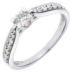 Solitario Contessa oro bianco  - 0.41 carati - 15 diamanti