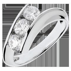 Trilogy ring Precious Nest - Feminine - white gold - 1 carat - 18 carats