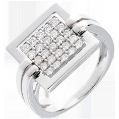 Anillo grabado oro blanco empedrado  - 0.45 quilates - 25 diamantes