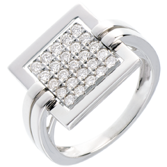 Anello Impronta oro bianco pavé  - 0.45 carati - 25 diamanti